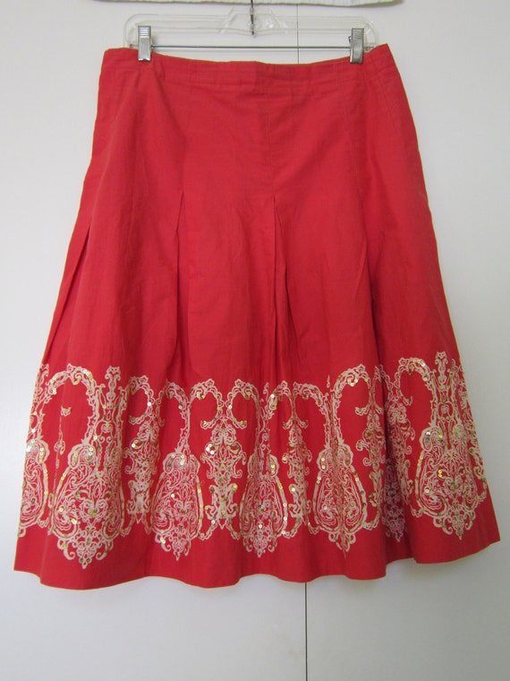 Tommy Hilfiger Red  Flarred Sequin Skirt