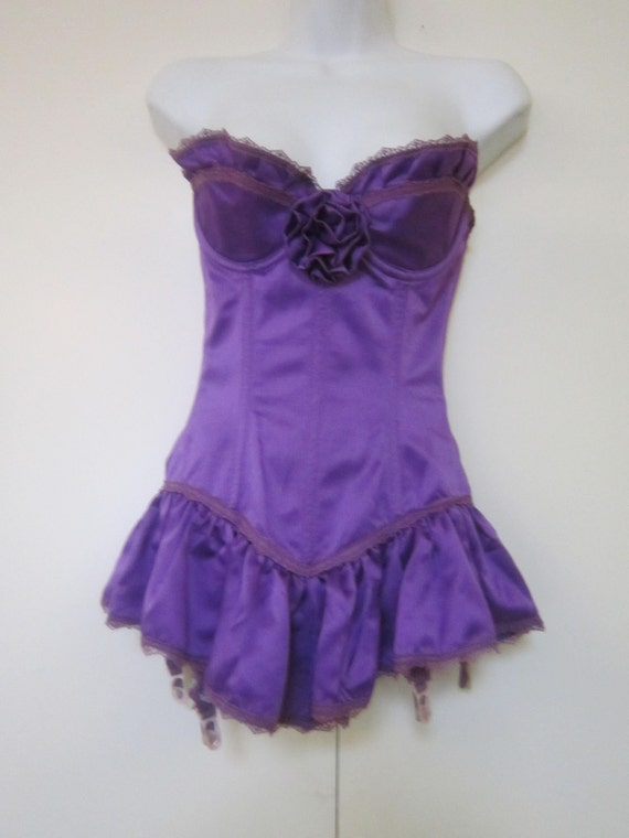 80's Purple Silky Bodice with Suspenders