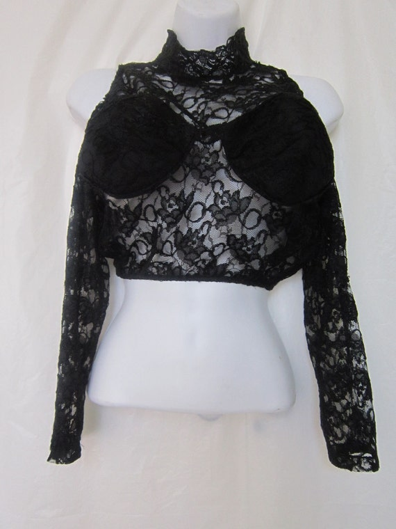 80's Vintage Black Lacy  Cropped High Neck Open Shoulder and Back Top
