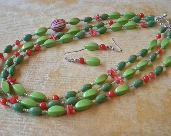 Necklace & Earrings Set - Garden Party