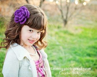 Chloe Crochet Flower Clip, Girls Hair Accessories, Crochet by Allie