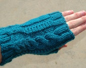 Teal Green Fingerless Cabled Gloves with thumb gusset. Cozy Ladies Wristwarmers Hand Knit