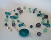 Aqua-Pigmented Jade, Blue Coral, Purple Sea Glass, Aqua Sea Glass, & Teal Glass (Single-Strand Floating Necklace ITEM N117)