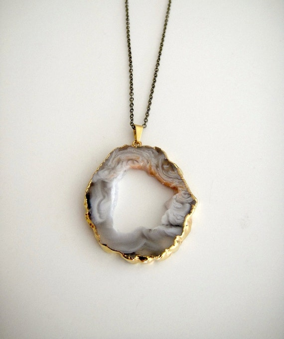 Coco Tangerine Geode - Long Necklace - Statement