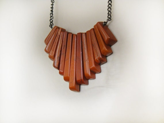 Sienna Fan - Red Jasper and Oxidized Silver Long Necklace