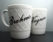 Coffee Cup - War of the Romantics - Coffee Mug - Hand Painted - Brahms and Wagner
