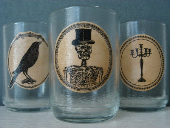 Gift Under 10 - Candle Votives - Funeral Formal - Skeleton - Raven