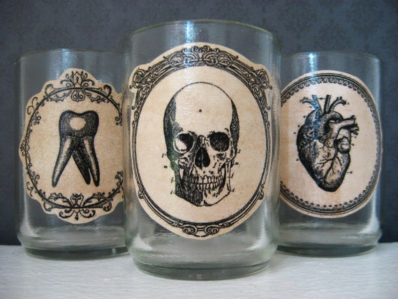 Halloween Candle Votive Holder  - Anatomical - Skull - Heart - Tooth -  Dreadful Dissection