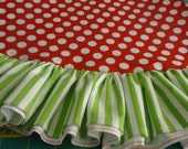 """60"""" red polka dots and lime green stripe whimsical Christmas tree skirt with ruffle"""