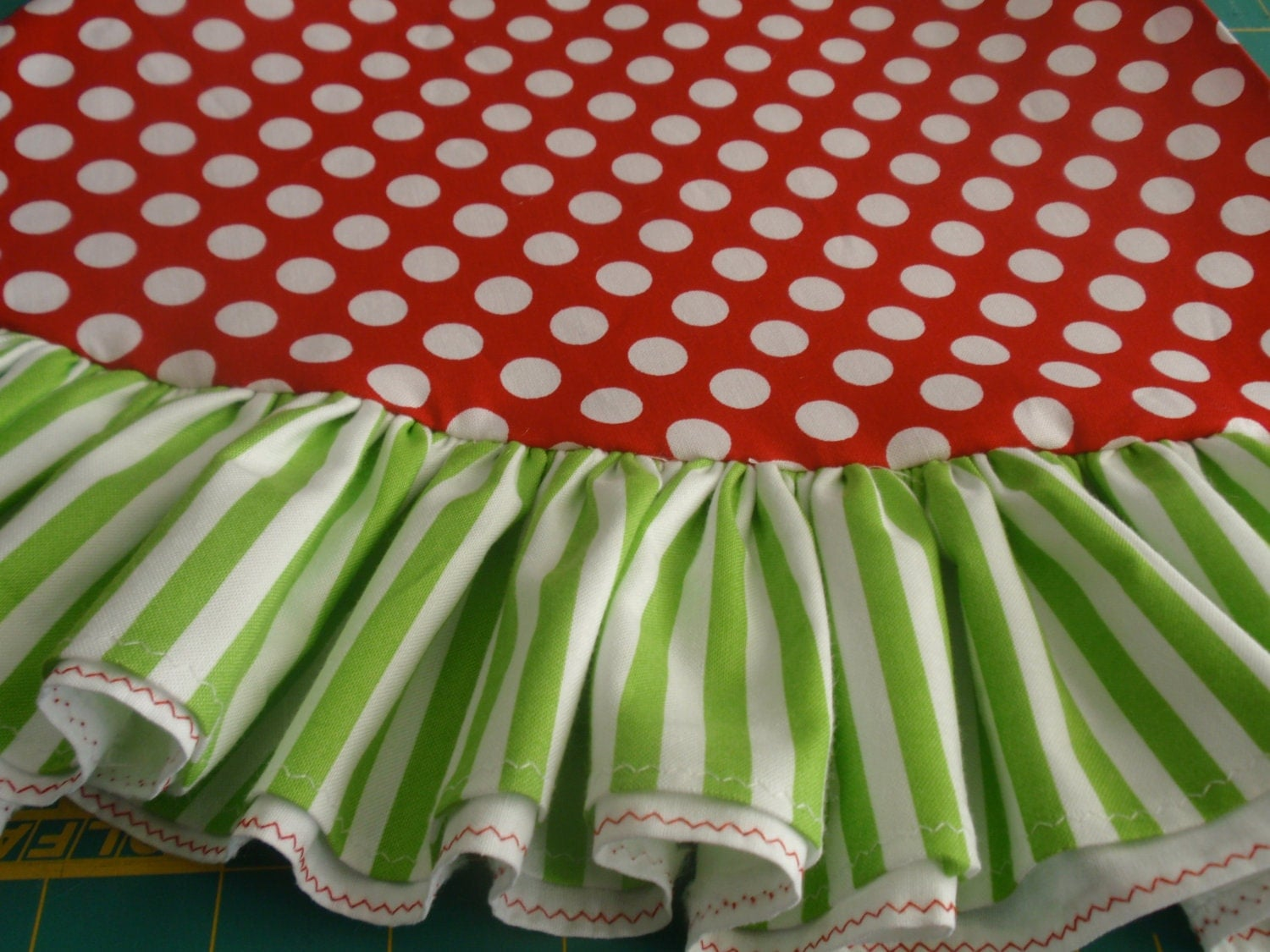 72 Red Polka Dots And Lime Green Stripe Whimsical