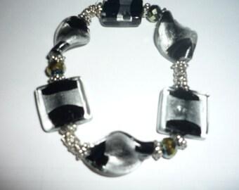 Black and Silver classy Beaded bracelet