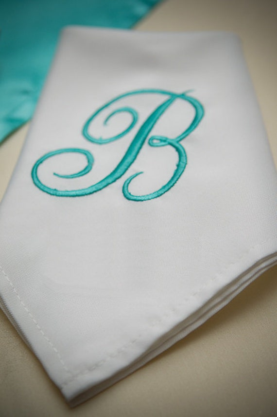 White Napkin with Embroidered Initial