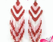 Red/Pink and White Beaded Earrings
