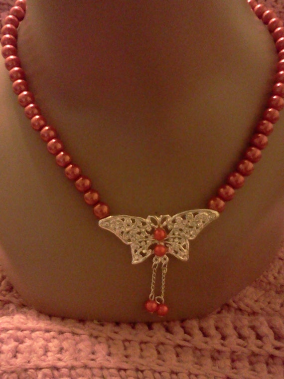 Butterfly Crystal Red Pearl Necklace Earring set