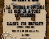 Cowboy Birthday Party Invitation - Boy, Girl, Western, Yee Haw