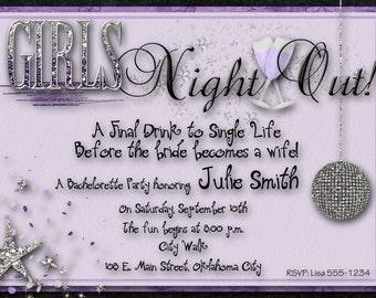 Bachelorette Party Invitation - Purple, Silver, Wedding, Bridal, Girls Night Out, Digital File, You Print