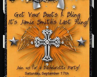 Rhinestone Cowgirl Bachelorette Party Invitation, Girls Night Out Custom - Orange