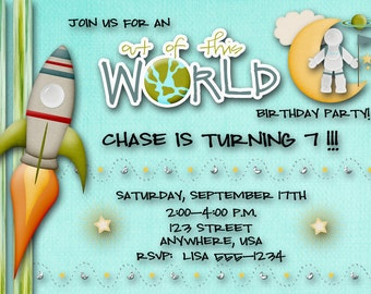 Outerspace, Spaceman Birthday Invitation, boy, Rocket ship, Moon, planets, stars