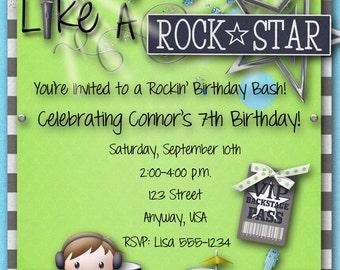 Rock Star Birthday Party Invitation, Boy, Guitar Hero, Rock Band, Blue