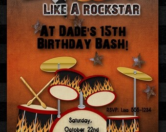 Rock Star Birthday Party Invitation, Boy, Girl, Guitar Hero, Rock Band, Drums