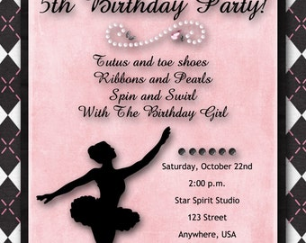 Ballerina Birthday Party Invitation/Dance Recital Invitation - Pink