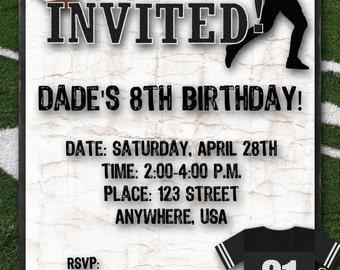 Football Birthday Party Invitation - Black