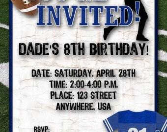 Football Birthday Party Invitation - Blue