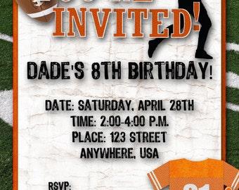 Football Birthday Party Invitation - Orange