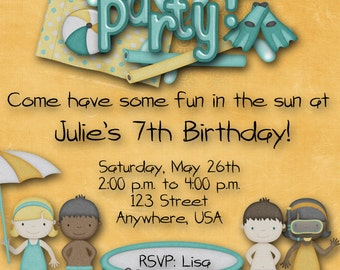 Pool Party Birthday Party Invitation - Blue, Yellow