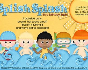 Pool Party Invitation- Swimming, Birthday, Boy, Girl, Digital, Custom