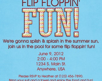Pool Party Invitation - Flip Flops, Swimming, Birthday, Girl, Boy, Digital, Custom