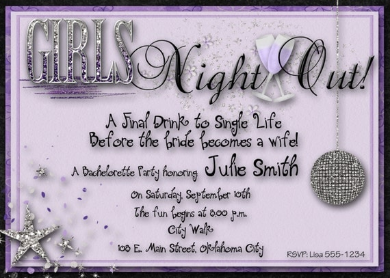 Bachelorette Party Invitation - Purple, Silver, Wedding, Bridal, Girls Night Out, Digital File, You Print