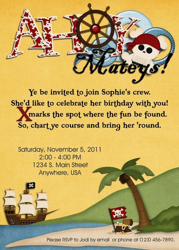 pirate party digital einladung geburtstag mädchen, Einladung