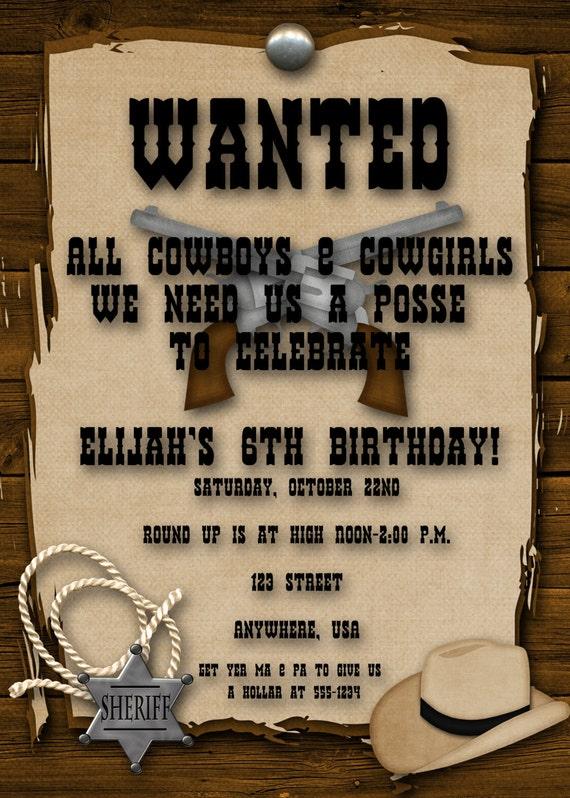 Cowboy Birthday Party Invitation Boy Girl Western Yee Haw