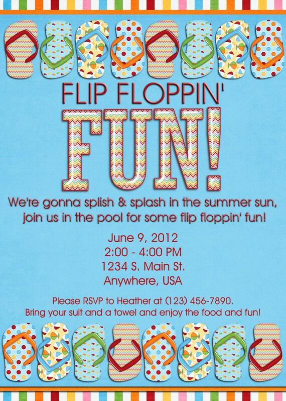 Pool Party Invitation Flip Flops Swimming Birthday Girl
