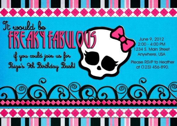 Monster High Style Birthday Invitation Pink Blue Black – Monster High Birthday Invitations