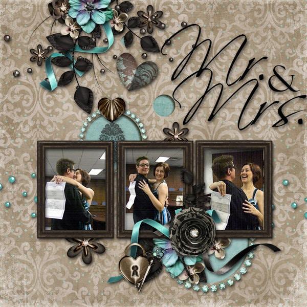Mr Mrs Wedding Premade Digital Scrapbook By DecidedlyDigital
