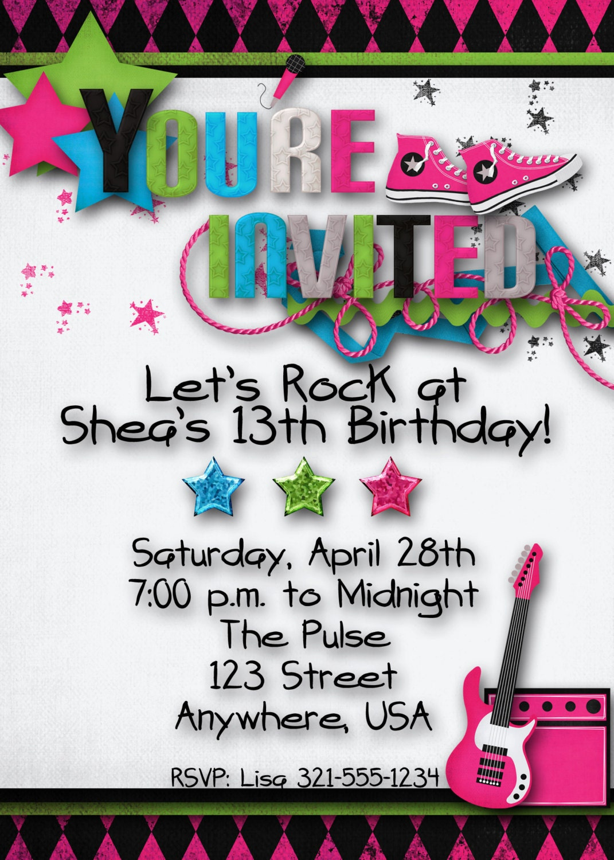 Rock Star Birthday Party Invitation Girl