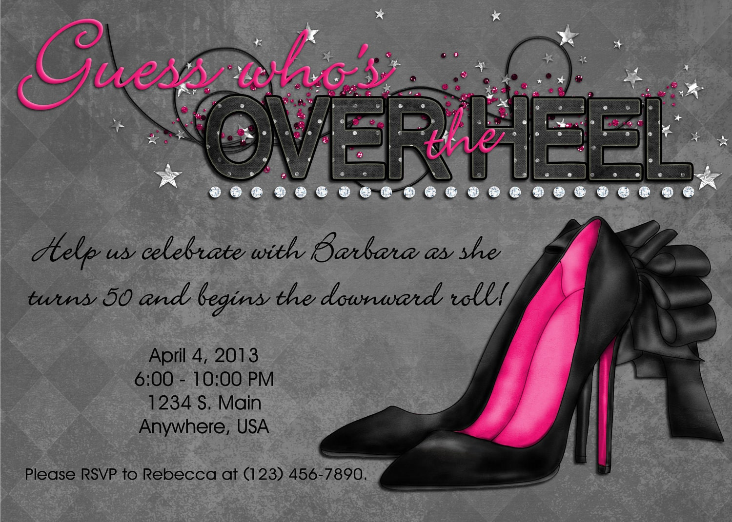 over the hill invitation black pink bling over the heel