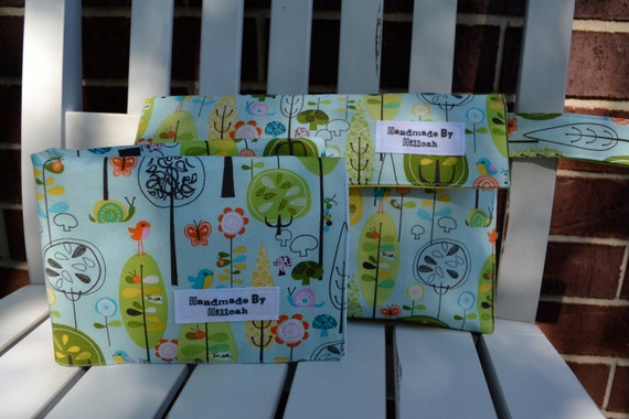 Diaper & Wipes Clutch with Changing Pad in Happier Trees Blue