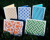 Modern Geometric Design Laser Cut Paper Cards- Set of five