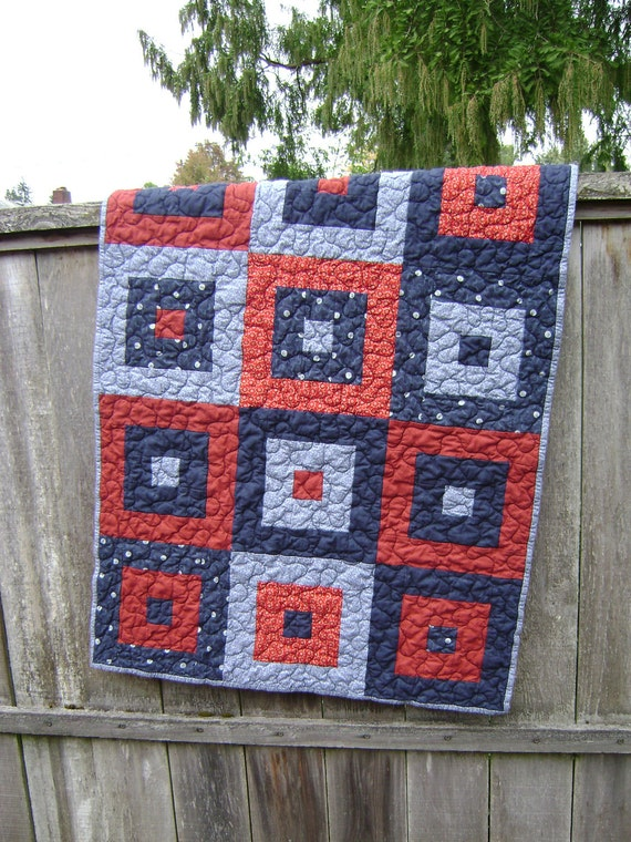 Baby Boy Quilt in red, white and blue - Handmade Blanket for that patriotic, americana, athletic or aviation decor nursery