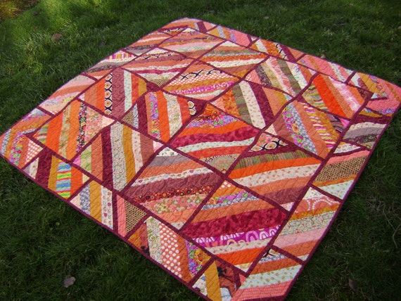Orange String Quilt - Perfect for cooler autumn evenings or as a fall wall hanging - Handmade Scrap Blanket