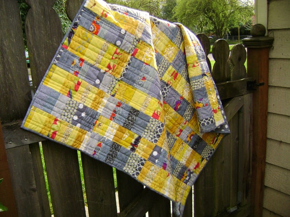 Modern Baby Quilt in Gray and Yellow Fabrics - Handmade