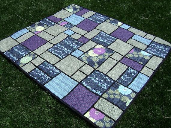 Modern Lap Quilt In Blue Green Purple Black Patchwork Using