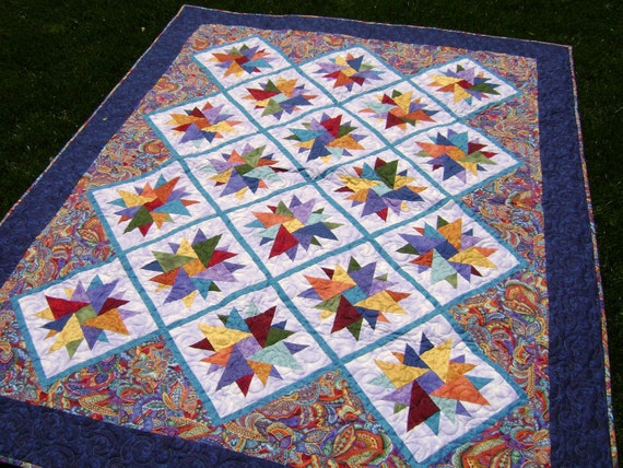 A Quilt of Many Colors - Large Handmade Colorful Lap or Twin Quilt in Blue Green Purple Orange Yellow Teal Navy Burgundy Lavender Turquoise