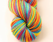 "Self Striping Sock Yarn, Superwash Merino and Nylon 75/25 Fingering Weight, in ""Crayons"""
