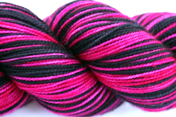 "Self Striping Sock Yarn, Superwash Merino and Nylon Fingering Weight, in ""Pink is the New Black"""