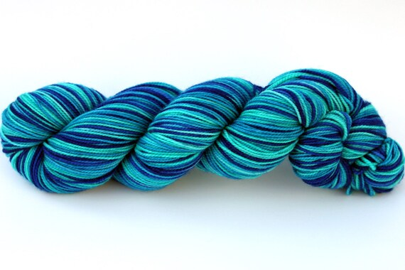 "Self Striping Sock Yarn, Superwash Merino and Nylon Fingering Weight, in ""Pool"""