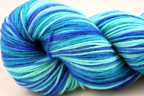"Self Striping Sock Yarn, Superwash Merino, Cashmere and Nylon Fingering Weight, in ""Pool"""